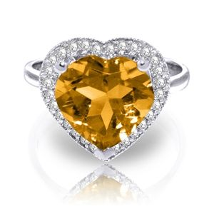 SOLID GOLD RING WITH DIAMONDS & HEART CITRINE